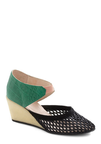 Croc on the Wild Side Wedge by New Kid - Cutout, Wedge, Mid, Leather, Green, Black, Pink, Tan / Cream, Woven, Party, Daytime Party, Colorblocking, Faux Leather, International Designer