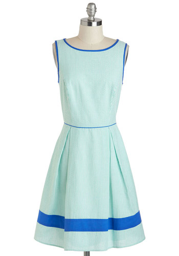 Attitude and Longitude Dress - Mint, Blue, Stripes, Pleats, Pockets, A-line, Sleeveless, Boat, White, Daytime Party, Pastel, Mid-length, Summer