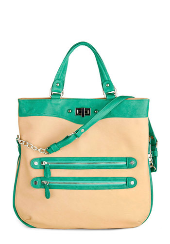 Packing Bliss Bag - Tan, Chain, Exposed zipper, Green, Solid, Casual, Travel