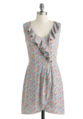 Greet the Parents Dress - Short, Grey, Multi, Floral, Ruffles, Casual, A-line, Sleeveless, V Neck, Summer