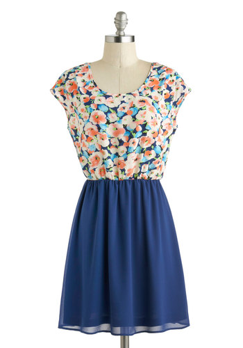Open Air Lesson Dress - Sheer, Mid-length, Blue, Multi, Floral, Casual, A-line, Cap Sleeves, Scoop