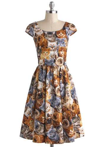 Hooked on a Feline Dress - Print with Animals, Multi, Casual, A-line, Cap Sleeves, Scoop, Cats, Better, Quirky, Long