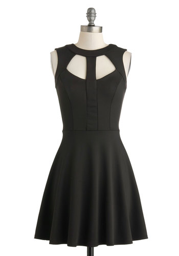 Foreshadowing Fabulous Dress - Short, Black, Solid, Cutout, Party, A-line, Sleeveless, Crew