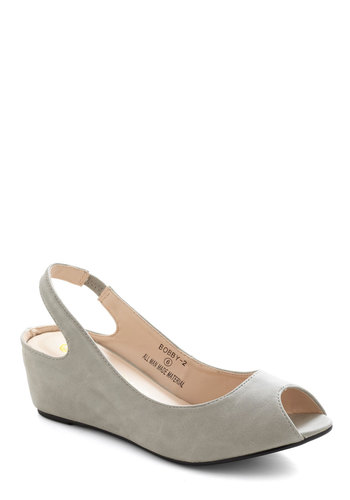Find Your Porpoise Wedge - Grey, Solid, Wedge, Peep Toe, Slingback, Mid, Work, Daytime Party, Minimal