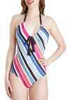 Learn Your Strokes One Piece - Stripes, Summer, Multi, Black, Cutout, Beach/Resort, Vintage Inspired, 70s, 80s, Halter