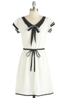Color Your Day Dress - Mid-length, Sheer, White, Black, Belted, Tie Neck, Casual, Nautical, A-line, Cap Sleeves, V Neck, Solid, Daytime Party, Vintage Inspired, 20s, 30s, Summer