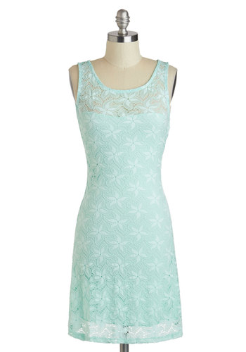 Starfish of the Show Dress - Sheer, Mid-length, Mint, Solid, Lace, Party, Shift, Tank top (2 thick straps), Scoop