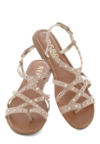 Case in Points Sandal - Tan, Silver, Solid, Studs, Flat, Strappy, Beach/Resort