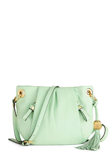 First Day Date Bag - Pleats, Tassels, Pastel, Leather, Mint