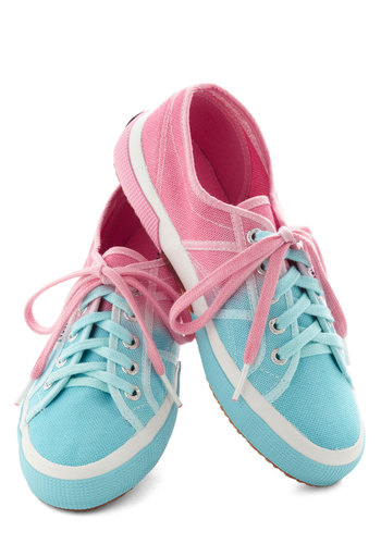 Cotton Candy Calypso Sneaker - Blue, Pink, White, Pastel, Ombre, Casual, Lace Up, Travel
