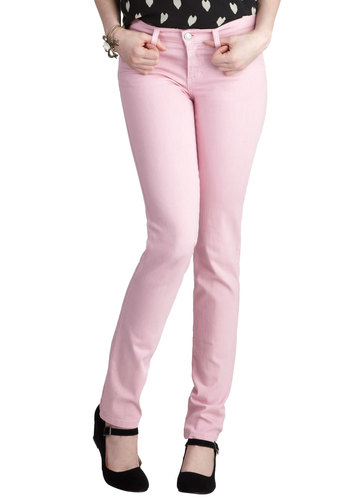 Spring in Every Season Jeans in Petal - Pink, Solid, Casual, Pastel, Skinny, Cotton, Variation, Denim