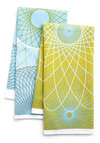 Swirl Talk Tea Towel Set - Green, Blue, White, Print, Mid-Century, Daytime Party