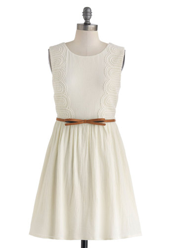 Naturally Enchanting Dress - White, Solid, Bows, Crochet, Belted, Casual, A-line, Sleeveless, Scoop, Cotton