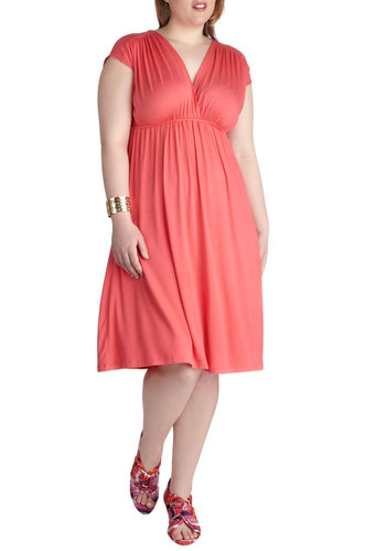 Sandcastle Contest Dress in Plus Size - Orange, Solid, Casual, A-line, Empire, Short Sleeves, Spring, Summer, Long, Beach/Resort