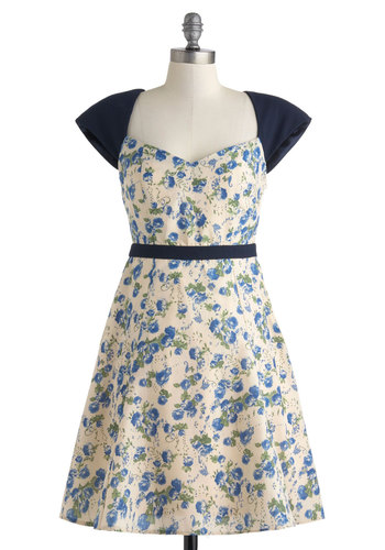 Rose Bouquet Dress - Cream, Blue, Floral, Cutout, Daytime Party, Cap Sleeves, Sweetheart, Mid-length, A-line, Exclusives