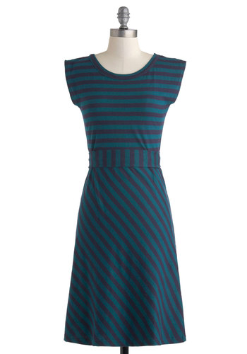 Riviera Romance Dress in Teal - Cotton, Long, Green, Blue, Stripes, Casual, A-line, Cap Sleeves, Scoop, Nautical, Eco-Friendly, Variation