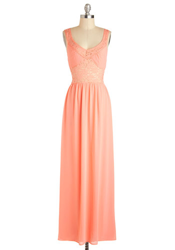 Believe It or Yacht Dress - Long, Coral, Solid, Crochet, Maxi, Tank top (2 thick straps), V Neck, Wedding, Party, Prom, Bridesmaid