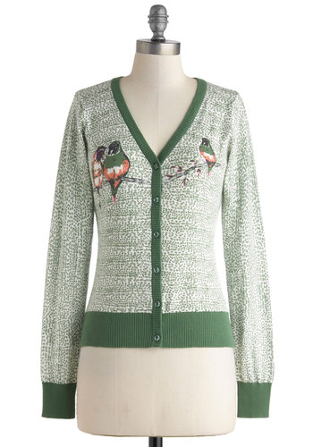 Bird and Breakfast Cardigan by Knitted Dove - Green, Brown, White, Buttons, Long Sleeve, Cotton, Mid-length, Print with Animals