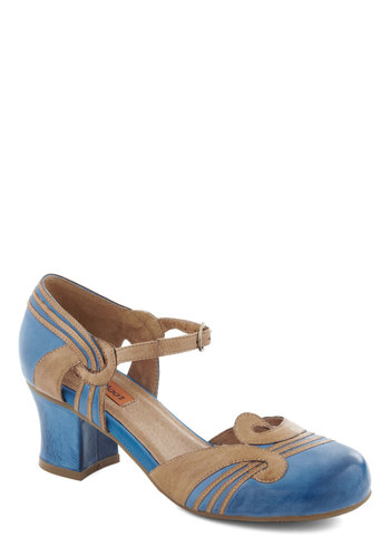 Loop the Part Heel by Miz Mooz - Blue, Tan / Cream, Solid, Mid, Chunky heel, Leather, Vintage Inspired, 20s