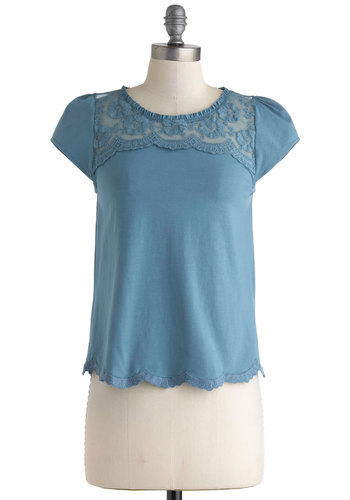 Peeks and Valleys Top - Cotton, Sheer, Mid-length, Blue, Lace, Scallops, Casual, Cap Sleeves, Solid, Work, Crew, Blue, Short Sleeve, Lace