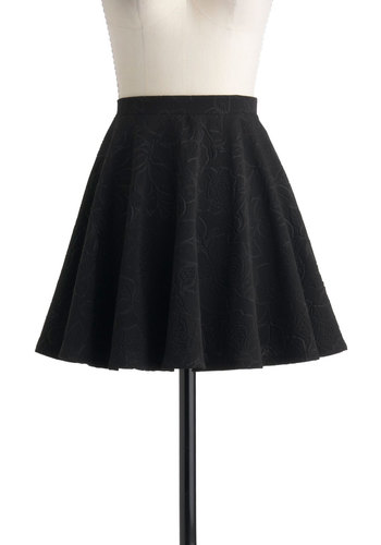 Subtle Reminder Skirt - Black, Solid, Floral, A-line, Short, Casual, Winter