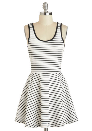 Play by Play Dress - Short, White, Black, Stripes, Fit & Flare, Tank top (2 thick straps), Scoop, Casual, Summer