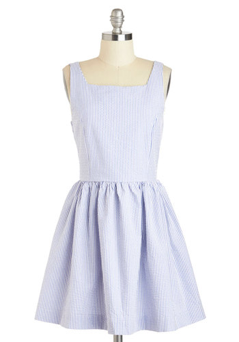 Daylong Jaunt Dress - Cotton, Short, Blue, White, Stripes, Buttons, Casual, Fit & Flare, Tank top (2 thick straps), Summer