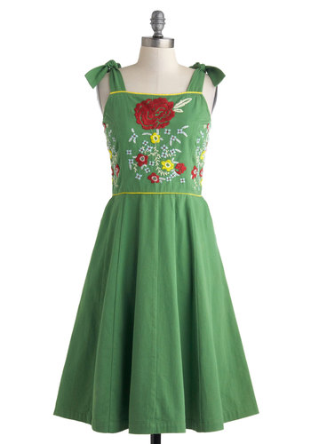Meet and Green Dress by Knitted Dove - Green, Multi, Floral, Embroidery, Casual, Sleeveless, Spring, Pockets, A-line, Folk Art, Cotton, Mid-length