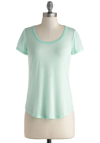 Iced Mint Tee - Sheer, Mid-length, Mint, Casual, Short Sleeves, Pastel, Minimal, Scoop, Summer, Travel
