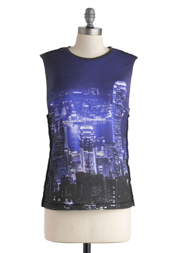 Great Cityscape Top - Black, Blue, Casual, Novelty Print, Urban, Mid-length, Cotton, Summer, Tank top (2 thick straps)