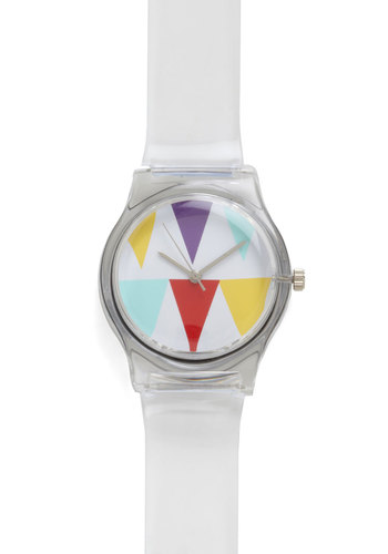 Peak Time Watch - Print, White, Multi