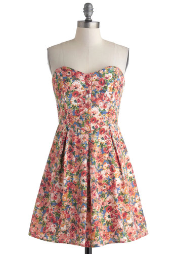 Moving Up Dress - Short, Multi, Floral, Buttons, Pleats, Daytime Party, A-line, Strapless, Sweetheart, Spring, Summer