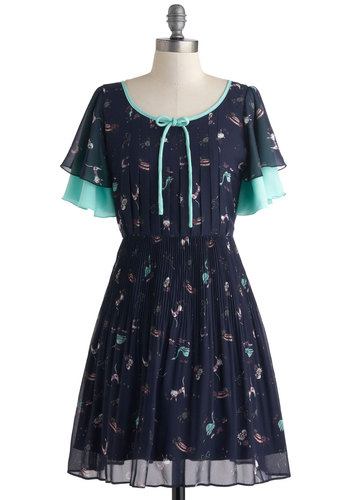 Kitty Living Dress - Blue, Multi, Print with Animals, Bows, Pleats, Casual, A-line, Short Sleeves, International Designer, Mid-length, Cats