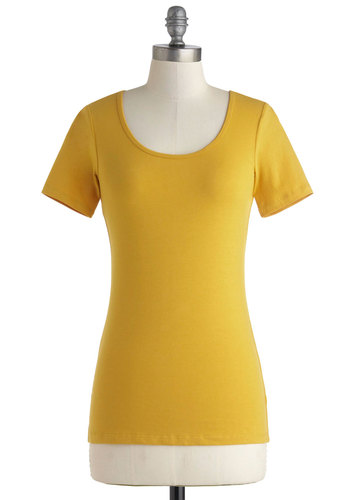 Every Day, Every Way Tee in Morning - Mid-length, Variation, Yellow, Solid, Casual, Short Sleeves, Minimal, Cotton, Scoop, Travel