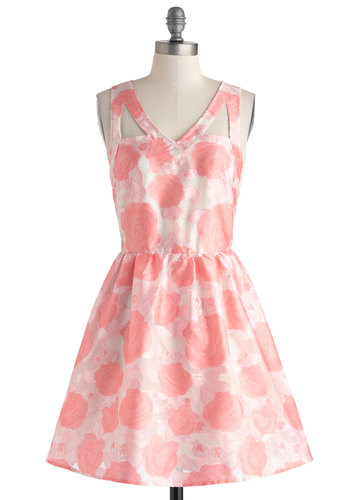 Birthday Breakfast Dress - Mid-length, Pink, White, Floral, Cutout, Prom, Fit & Flare, Sleeveless, V Neck, Party, Summer