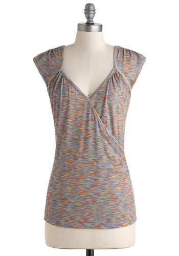 Seemingly Sew Top in Multi - Exclusives, Mid-length, Multi, Casual, Print, Cap Sleeves, V Neck, Variation, Summer, Travel, Basic, Good, 90s, Best Seller, Multi, Short Sleeve