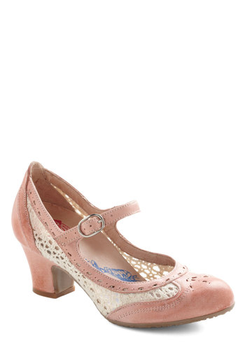 Delightful Footsteps Heel by Brako - Pink, Tan / Cream, Solid, Crochet, Cutout, Vintage Inspired, 30s, Leather, Work, Daytime Party, Spring, Mid, Mary Jane, International Designer