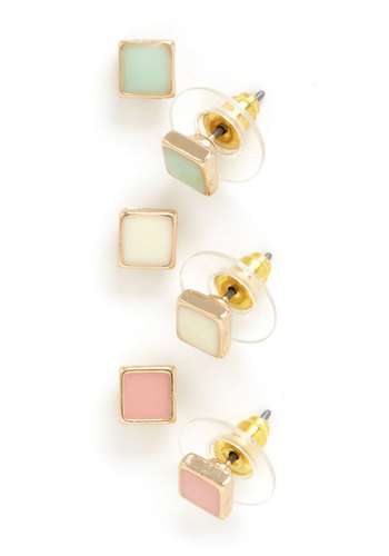 A Pastel a Day Earrings - Pink, White, Mint, Gold, Solid, Pastel, Minimal, Bridesmaid, 90s