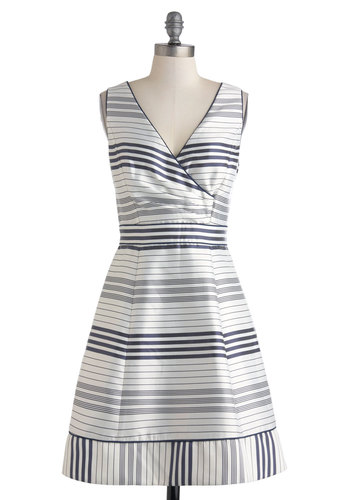 Sea to Shiny Sea Dress - Nautical, Blue, Grey, Stripes, Pockets, Daytime Party, Fit & Flare, Sleeveless, V Neck, Party, Mid-length, White