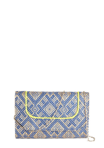 Perth the Wait Clutch - Blue, Yellow, Tan / Cream, Print, Trim, Daytime Party