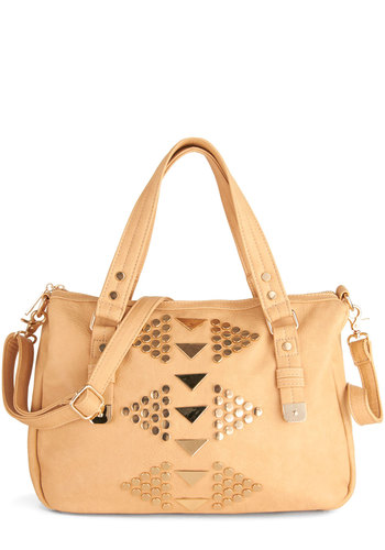 Studded Group Bag - Solid, Studs, Faux Leather, Tan, Urban