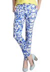 Bloom Service Pants - Blue, White, Floral, French / Victorian, Skinny, Cotton, Daytime Party