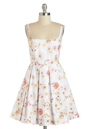 Whispering Blossoms Dress by BB Dakota - Cotton, Mid-length, White, Multi, Floral, Cutout, Pleats, Daytime Party, Fit & Flare, Spaghetti Straps, Spring, Summer, Graduation