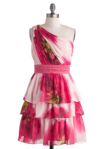 Botanical Garden Gala Dress - Mid-length, Pink, Floral, Tiered, Daytime Party, A-line, One Shoulder, Wedding, Spring, Summer, Prom, Graduation, Bridesmaid