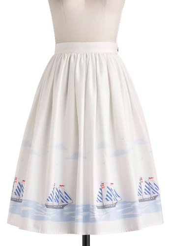 Home Sweet Helm Skirt - Nautical, White, Blue, Red, Novelty Print, Daytime Party, Fit & Flare, Exclusives, Cotton, Long, Summer