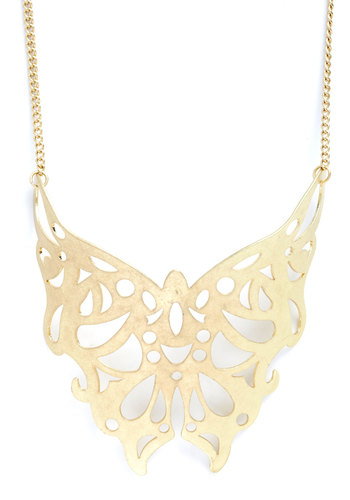 Tattoo Artistry Necklace - Gold, Cutout, Solid, Statement, Boho, Gold