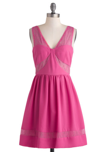 Life of the Bachelorette Party Dress by Max and Cleo - Sheer, Mid-length, Pink, Solid, Lace, Prom, A-line, Sleeveless, V Neck, Cutout, Party, Girls Night Out