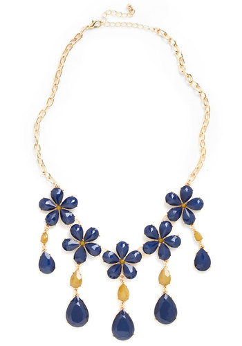 Drive Me Navy Necklace - Yellow, Solid, Flower, Tiered, Statement, Blue, Gold, Beads, 60s, Special Occasion