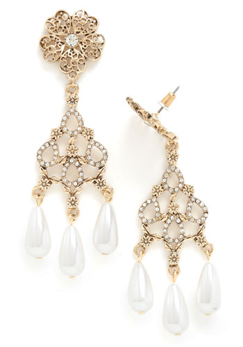 Drops of Enchantment Earrings - White, Gold, Solid, Cutout, Flower, Pearls, Rhinestones, Tiered, Special Occasion, Statement, Prom, Wedding, Bridesmaid, Gold
