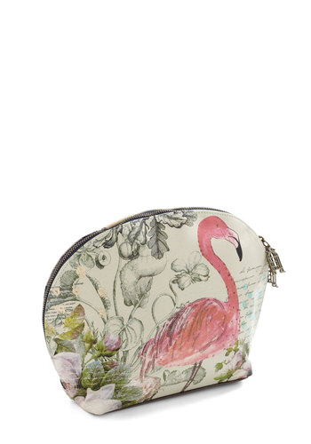 Flamingo On Your Way Makeup Bag by Disaster Designs - International Designer, Faux Leather, Print with Animals, Fairytale, Multi, Pink, Tan / Cream, Travel
